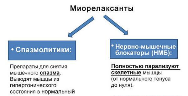 схема использования миорелаксантов
